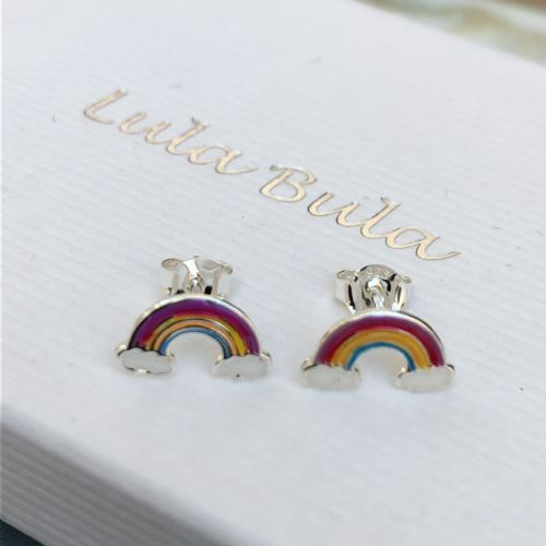 Silver rainbow earrings